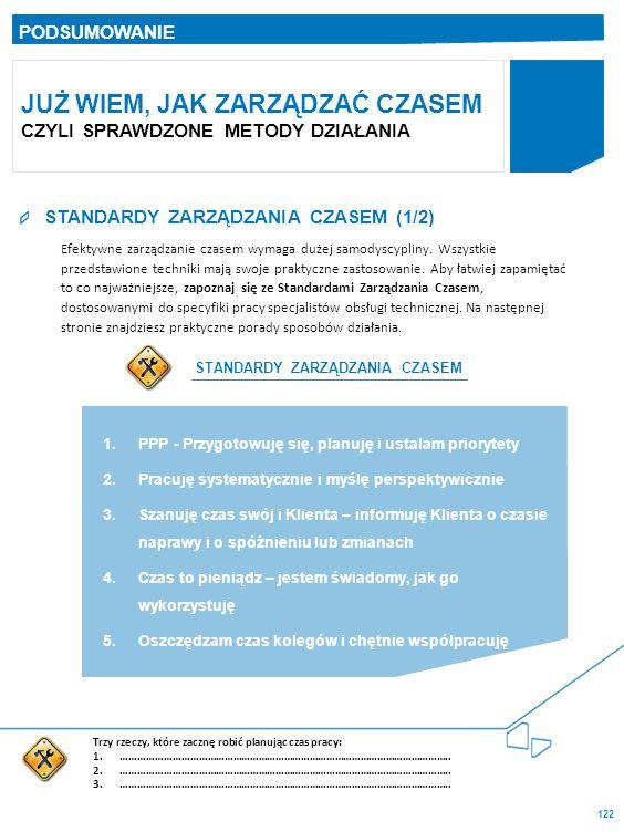122 STANDARDY ZARZĄDZANIA CZASEM (1/2) PODSUMOWANIE JUŻ WIEM, JAK ZARZĄDZAĆ CZASEM CZYLI SPRAWDZONE METODY DZIAŁANIA Efektywne zarządzanie czasem wymaga dużej samodyscypliny.