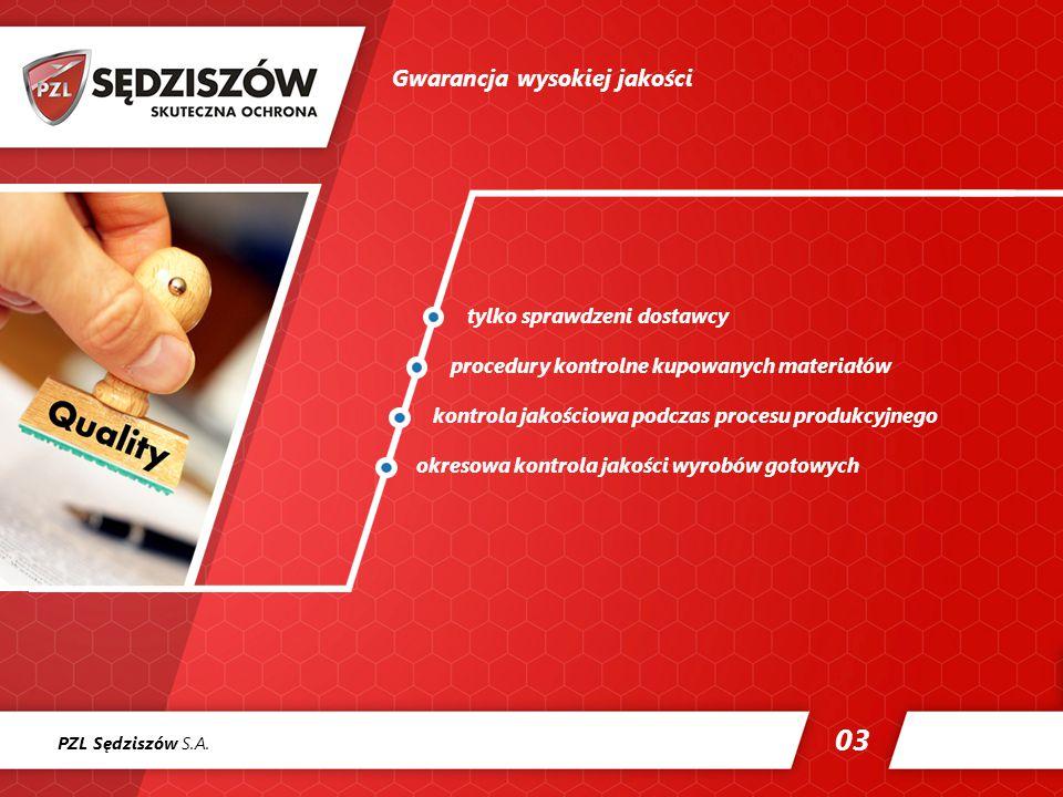 03 Gwarancja wysokiej jakości tylko sprawdzeni dostawcy procedury kontrolne kupowanych materiałów kontrola jakościowa podczas procesu produkcyjnego okresowa kontrola jakości wyrobów gotowych