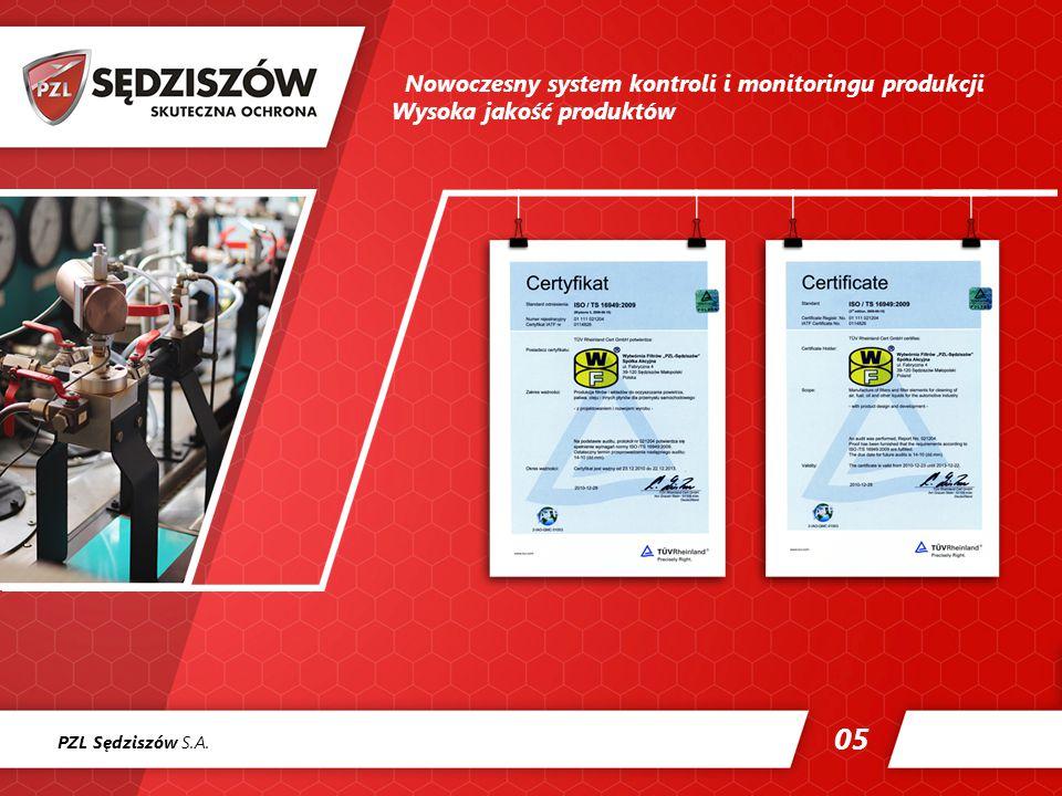 PZL Sędziszów S.A. 05 Nowoczesny system kontroli i monitoringu produkcji Wysoka jakość produktów