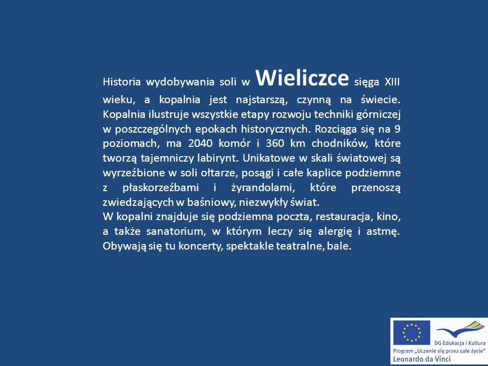 Historia wydobywania soli w Wieliczce sięga XIII wieku, a kopalnia jest najstarszą, czynną na świecie. Kopalnia ilustruje wszystkie etapy rozwoju tech