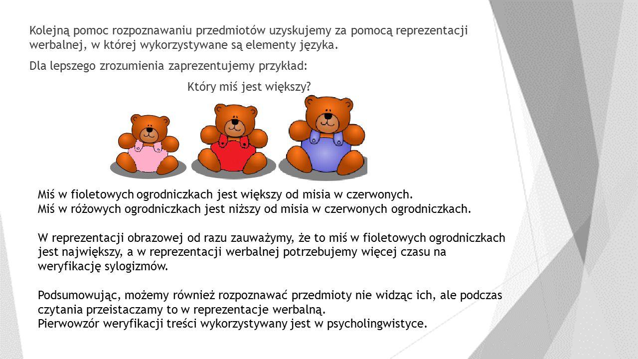 Kolejną pomoc rozpoznawaniu przedmiotów uzyskujemy za pomocą reprezentacji werbalnej, w której wykorzystywane są elementy języka. Dla lepszego zrozumi