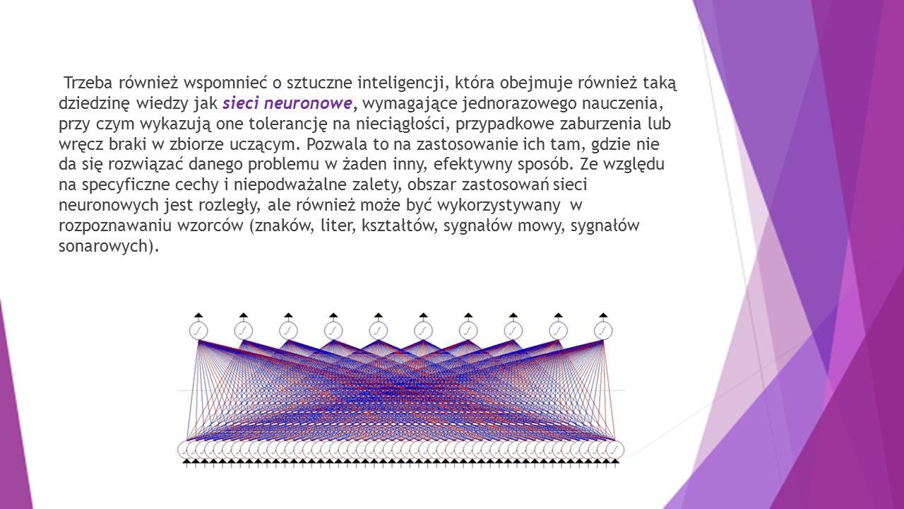 Trzeba również wspomnieć o sztuczne inteligencji, która obejmuje również taką dziedzinę wiedzy jak sieci neuronowe, wymagające jednorazowego nauczenia
