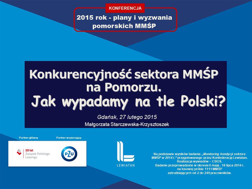 2015 rok - plany i wyzwania pomorskich MMŚP Konkurencyjność sektora MMŚP na Pomorzu.