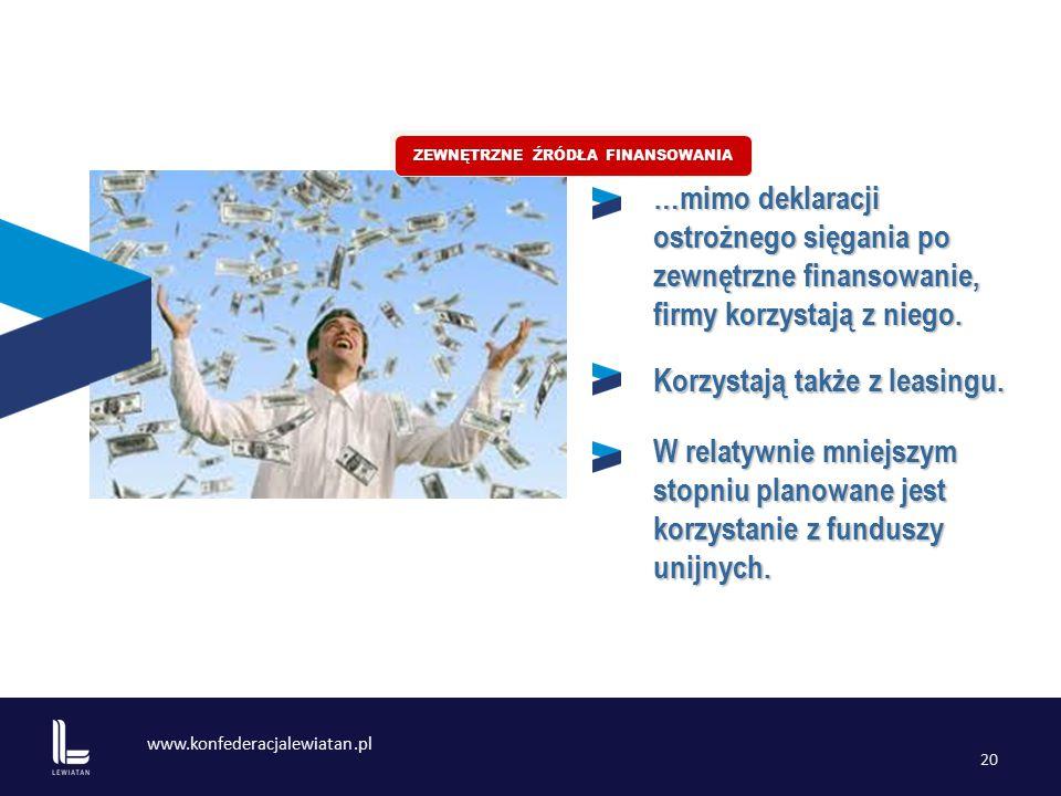 www.konfederacjalewiatan.pl 20 …mimo deklaracji ostrożnego sięgania po zewnętrzne finansowanie, firmy korzystają z niego.