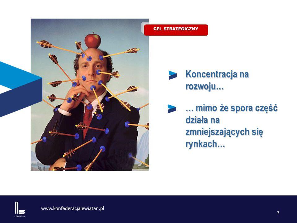 www.konfederacjalewiatan.pl 7 Koncentracja na rozwoju… … mimo że spora część działa na zmniejszających się rynkach… CEL STRATEGICZNY