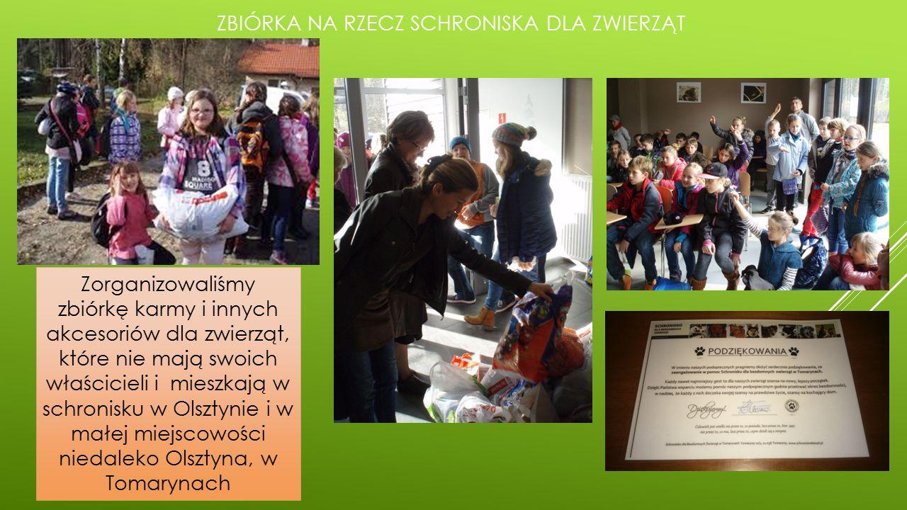 ZBIÓRKA NA RZECZ SCHRONISKA DLA ZWIERZĄT Zorganizowaliśmy zbiórkę karmy i innych akcesoriów dla zwierząt, które nie mają swoich właścicieli i mieszkają w schronisku w Olsztynie i w małej miejscowości niedaleko Olsztyna, w Tomarynach