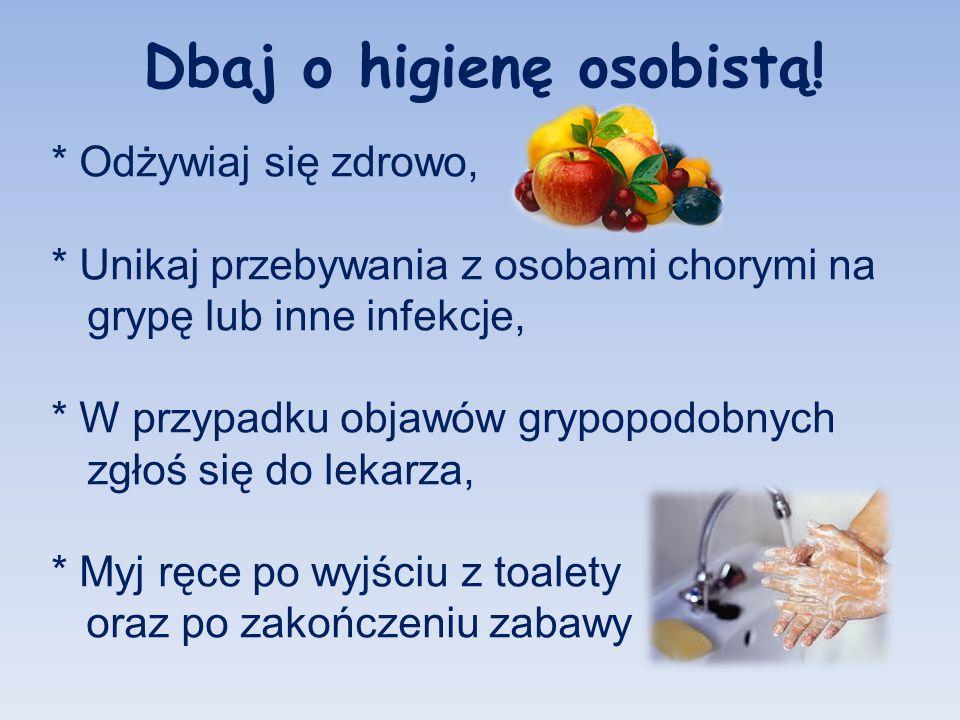 Dbaj o higienę osobistą! * Odżywiaj się zdrowo, * Unikaj przebywania z osobami chorymi na grypę lub inne infekcje, * W przypadku objawów grypopodobnyc