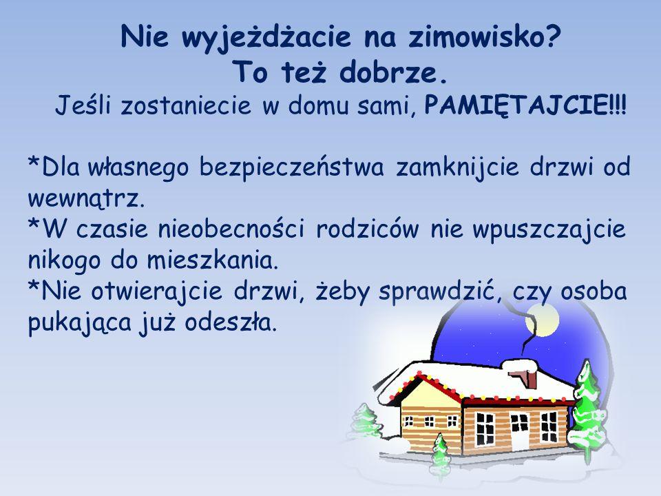 Nie wyjeżdżacie na zimowisko? To też dobrze. Jeśli zostaniecie w domu sami, PAMIĘTAJCIE!!! *Dla własnego bezpieczeństwa zamknijcie drzwi od wewnątrz.