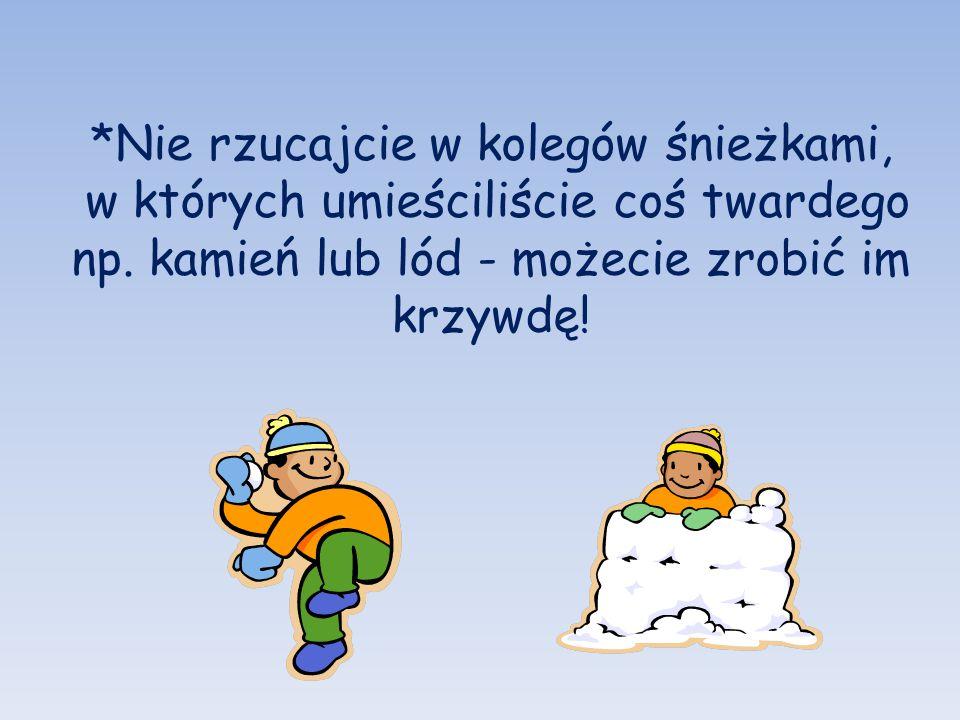*Nie rzucajcie w kolegów śnieżkami, w których umieściliście coś twardego np. kamień lub lód - możecie zrobić im krzywdę!