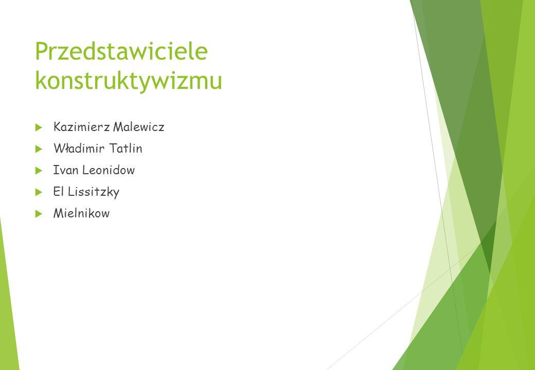 Przedstawiciele konstruktywizmu  Kazimierz Malewicz  Władimir Tatlin  Ivan Leonidow  El Lissitzky  Mielnikow