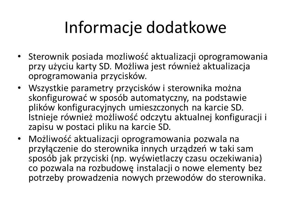 Informacje dodatkowe Sterownik posiada mozliwość aktualizacji oprogramowania przy użyciu karty SD.