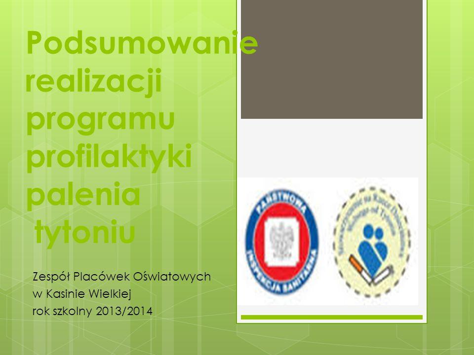 Podsumowanie realizacji programu profilaktyki palenia tytoniu Zespół Placówek Oświatowych w Kasinie Wielkiej rok szkolny 2013/2014