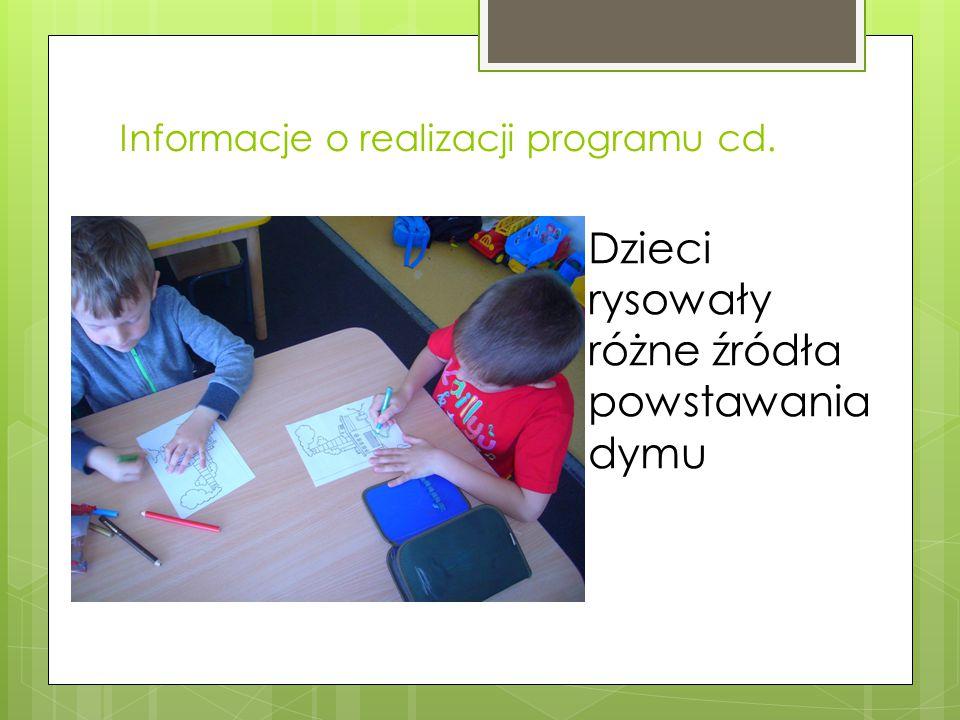 Informacje o realizacji programu cd. Dzieci rysowały różne źródła powstawania dymu