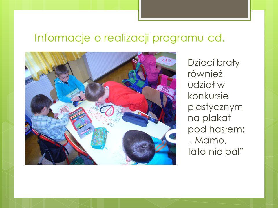 """Informacje o realizacji programu cd. Dzieci brały również udział w konkursie plastycznym na plakat pod hasłem: """" Mamo, tato nie pal"""""""