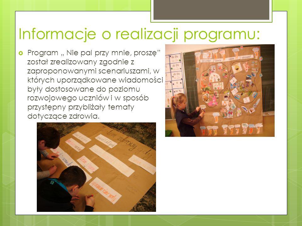 """Informacje o realizacji programu:  Program """" Nie pal przy mnie, proszę"""" został zrealizowany zgodnie z zaproponowanymi scenariuszami, w których uporzą"""