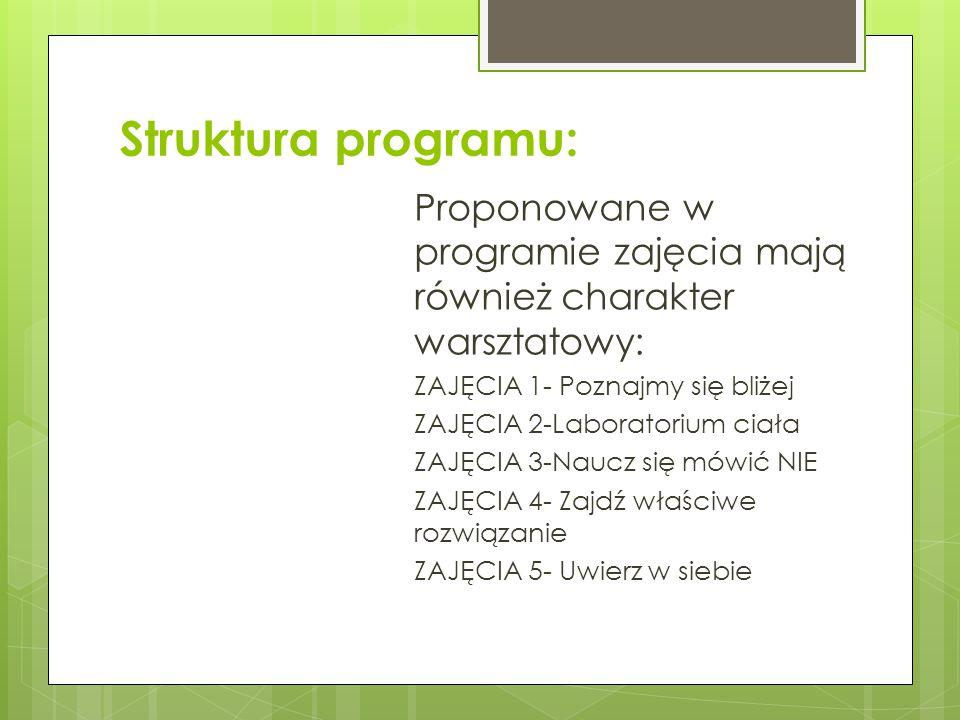 Struktura programu: Proponowane w programie zajęcia mają również charakter warsztatowy: ZAJĘCIA 1- Poznajmy się bliżej ZAJĘCIA 2-Laboratorium ciała ZA