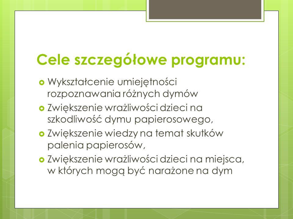 Cele szczegółowe programu:  Wykształcenie umiejętności rozpoznawania różnych dymów  Zwiększenie wrażliwości dzieci na szkodliwość dymu papierosowego