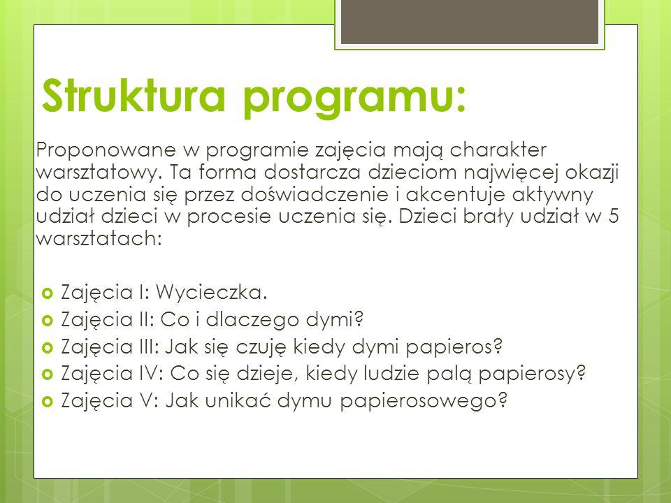 Struktura programu: Proponowane w programie zajęcia mają charakter warsztatowy. Ta forma dostarcza dzieciom najwięcej okazji do uczenia się przez dośw