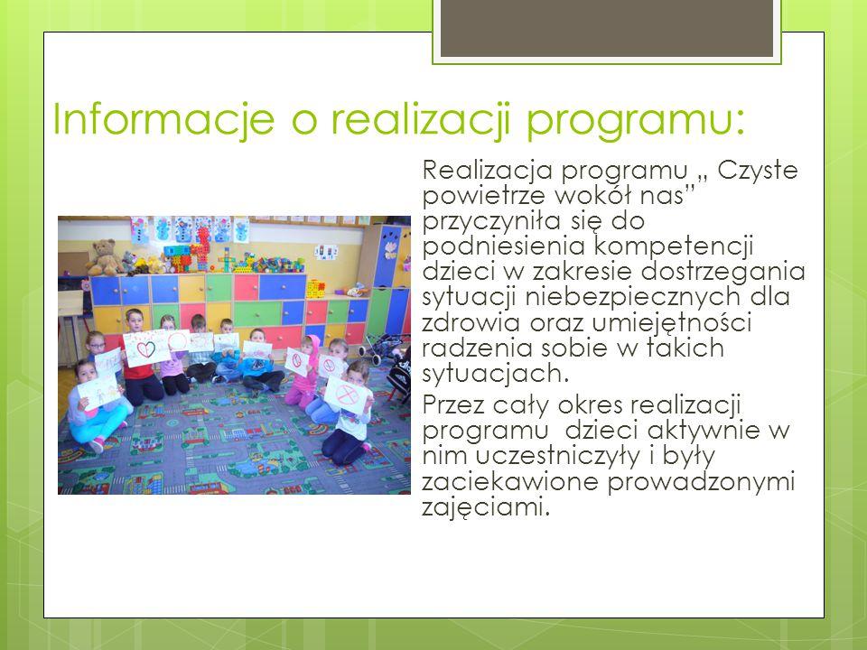"""Informacje o realizacji programu: Realizacja programu """" Czyste powietrze wokół nas"""" przyczyniła się do podniesienia kompetencji dzieci w zakresie dost"""
