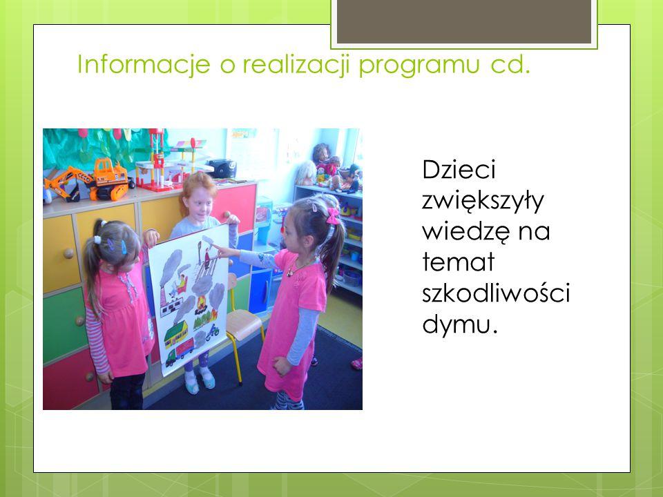 Informacje o realizacji programu cd. Dzieci zwiększyły wiedzę na temat szkodliwości dymu.