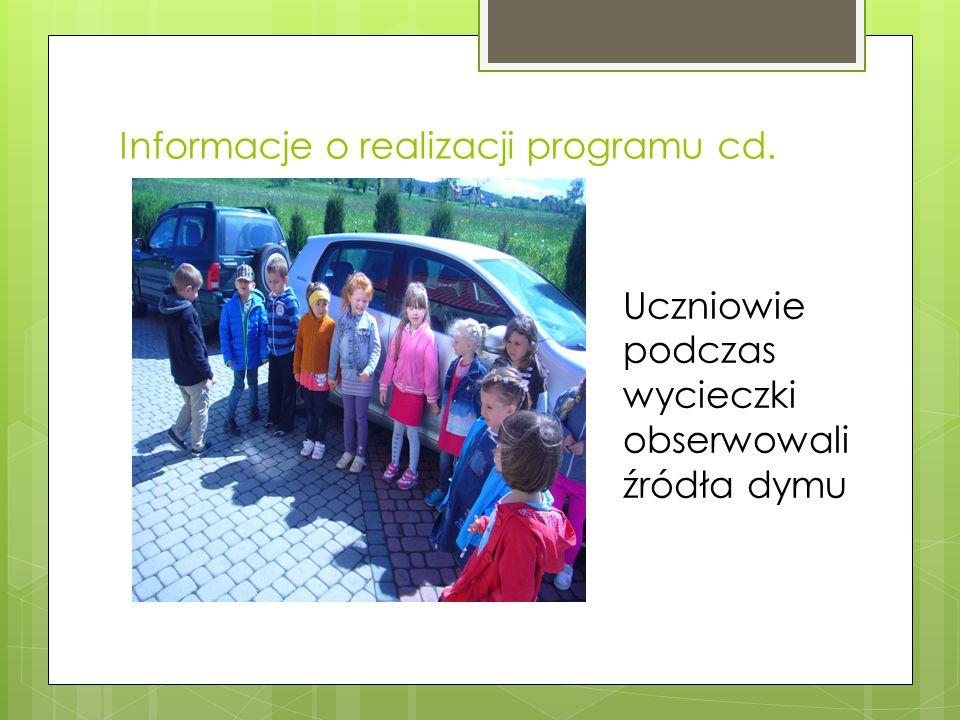 Informacje o realizacji programu cd. Uczniowie podczas wycieczki obserwowali źródła dymu