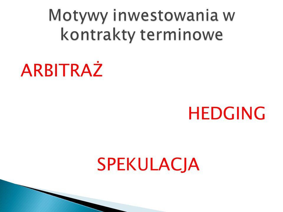 ARBITRAŻ HEDGING SPEKULACJA
