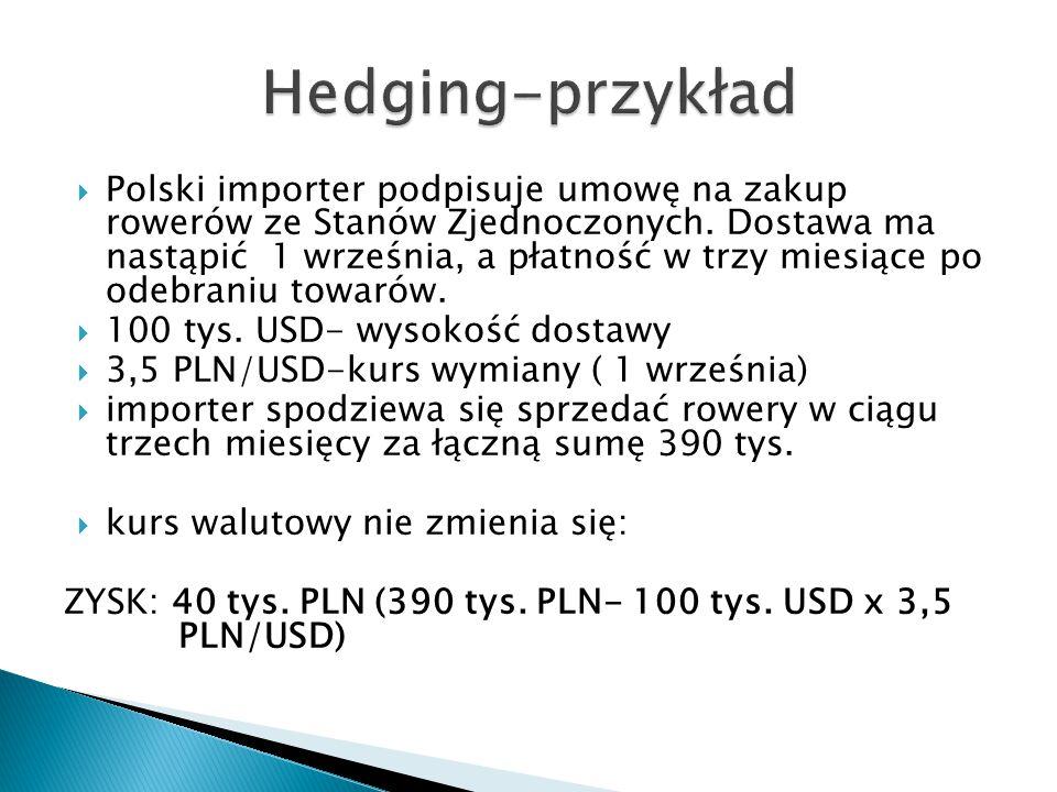  Polski importer podpisuje umowę na zakup rowerów ze Stanów Zjednoczonych. Dostawa ma nastąpić 1 września, a płatność w trzy miesiące po odebraniu to