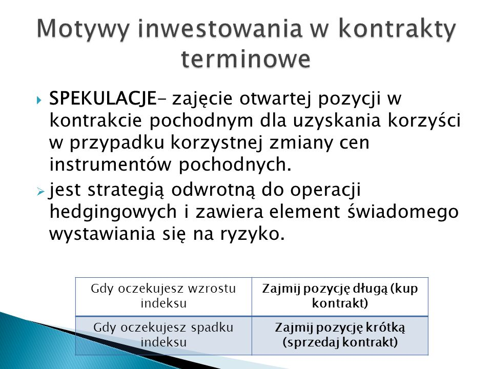  SPEKULACJE- zajęcie otwartej pozycji w kontrakcie pochodnym dla uzyskania korzyści w przypadku korzystnej zmiany cen instrumentów pochodnych.