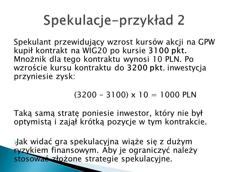 Spekulant przewidujący wzrost kursów akcji na GPW kupił kontrakt na WIG20 po kursie 3100 pkt. Mnożnik dla tego kontraktu wynosi 10 PLN. Po wzroście ku