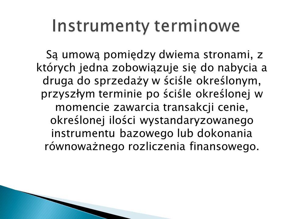 Są umową pomiędzy dwiema stronami, z których jedna zobowiązuje się do nabycia a druga do sprzedaży w ściśle określonym, przyszłym terminie po ściśle określonej w momencie zawarcia transakcji cenie, określonej ilości wystandaryzowanego instrumentu bazowego lub dokonania równoważnego rozliczenia finansowego.