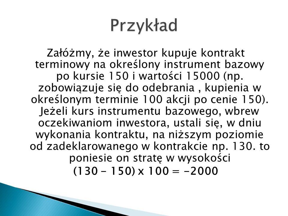 Załóżmy, że inwestor kupuje kontrakt terminowy na określony instrument bazowy po kursie 150 i wartości 15000 (np. zobowiązuje się do odebrania, kupien