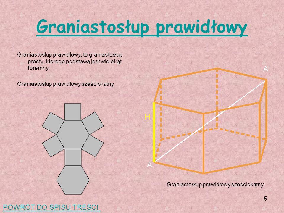 5 Graniastosłup prawidłowy Graniastosłup prawidłowy, to graniastosłup prosty, którego podstawą jest wielokąt foremny.