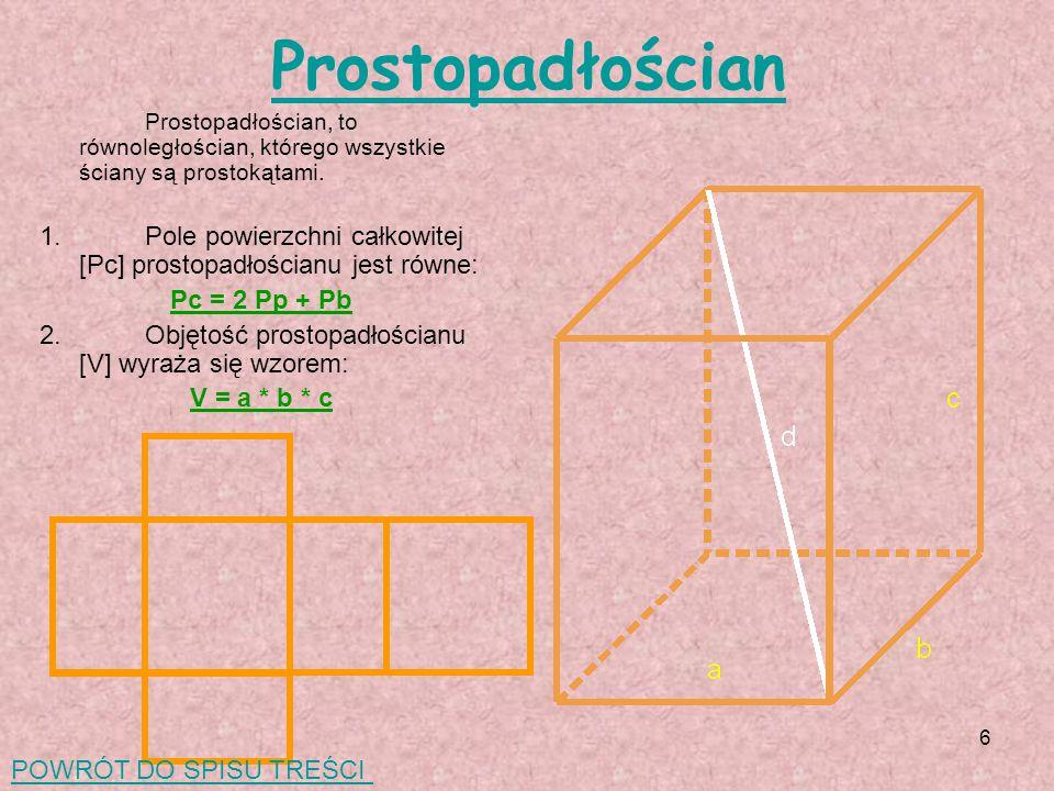 6 Prostopadłościan Prostopadłościan, to równoległościan, którego wszystkie ściany są prostokątami.
