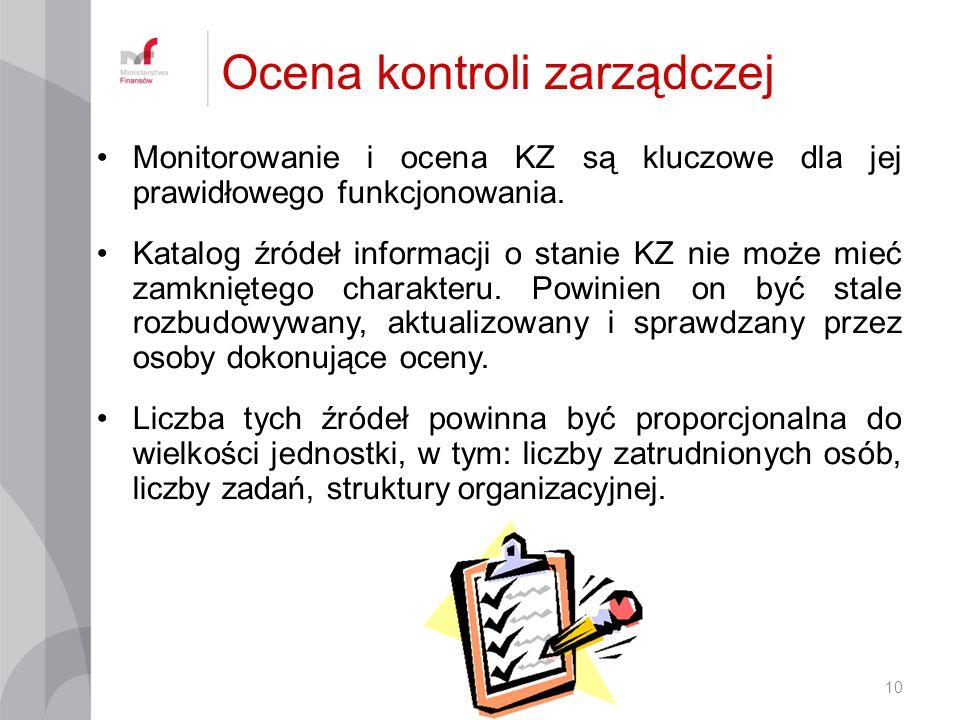 Monitorowanie i ocena KZ są kluczowe dla jej prawidłowego funkcjonowania. Katalog źródeł informacji o stanie KZ nie może mieć zamkniętego charakteru.