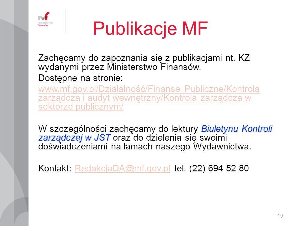 Publikacje MF Zachęcamy do zapoznania się z publikacjami nt. KZ wydanymi przez Ministerstwo Finansów. Dostępne na stronie: www.mf.gov.pl/Działalność/F