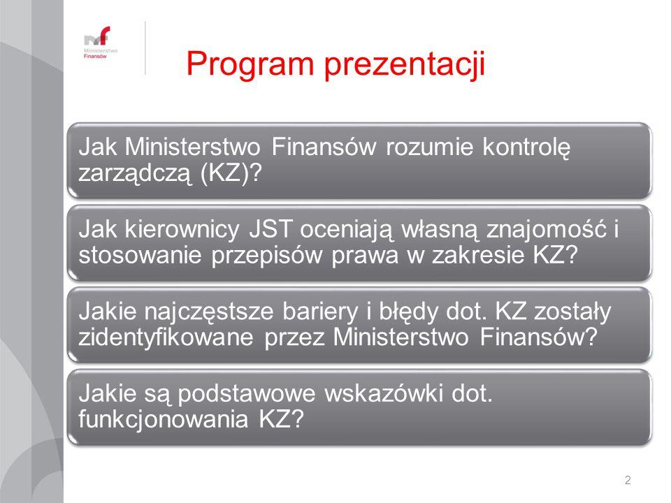 Program prezentacji Jak Ministerstwo Finansów rozumie kontrolę zarządczą (KZ)? Jak kierownicy JST oceniają własną znajomość i stosowanie przepisów pra