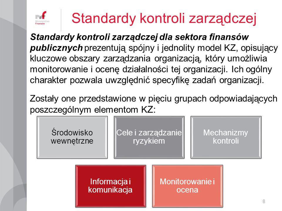 Standardy kontroli zarządczej dla sektora finansów publicznych prezentują spójny i jednolity model KZ, opisujący kluczowe obszary zarządzania organiza