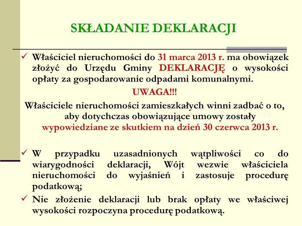 SKŁADANIE DEKLARACJI Właściciel nieruchomości do 31 marca 2013 r. ma obowiązek złożyć do Urzędu Gminy DEKLARACJĘ o wysokości opłaty za gospodarowanie