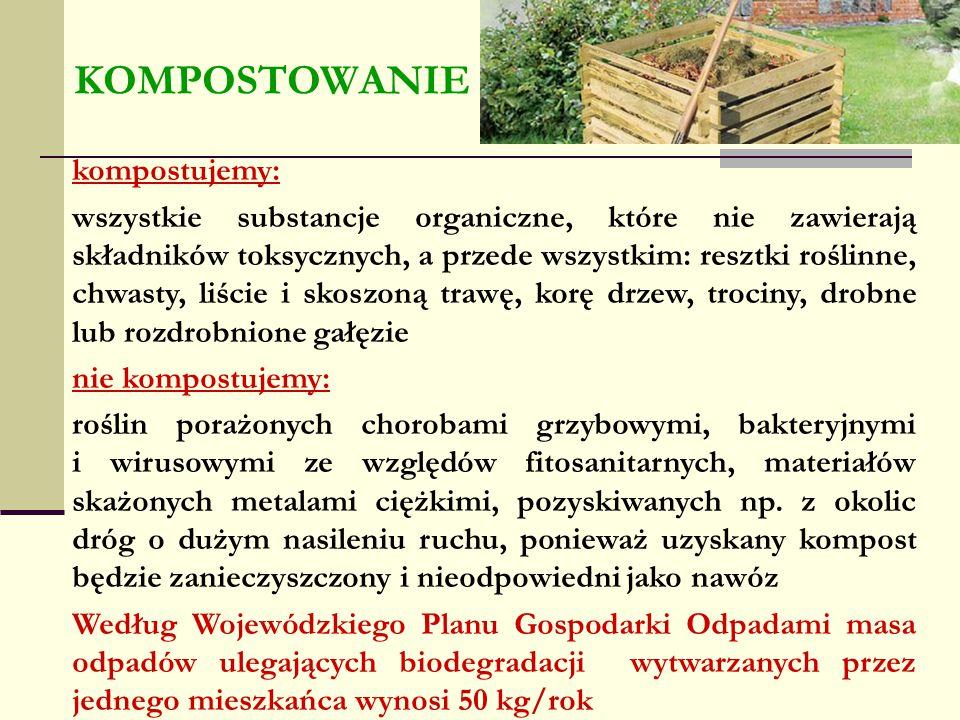 kompostujemy: wszystkie substancje organiczne, które nie zawierają składników toksycznych, a przede wszystkim: resztki roślinne, chwasty, liście i sko