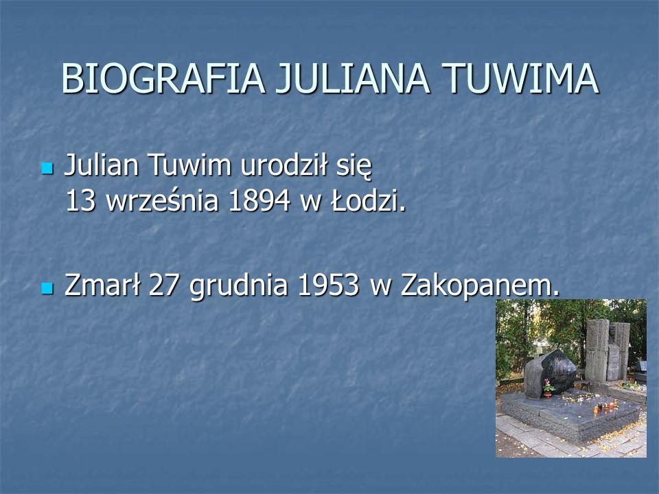 BIOGRAFIA JULIANA TUWIMA Julian Tuwim urodził się 13 września 1894 w Łodzi. Julian Tuwim urodził się 13 września 1894 w Łodzi. Zmarł 27 grudnia 1953 w