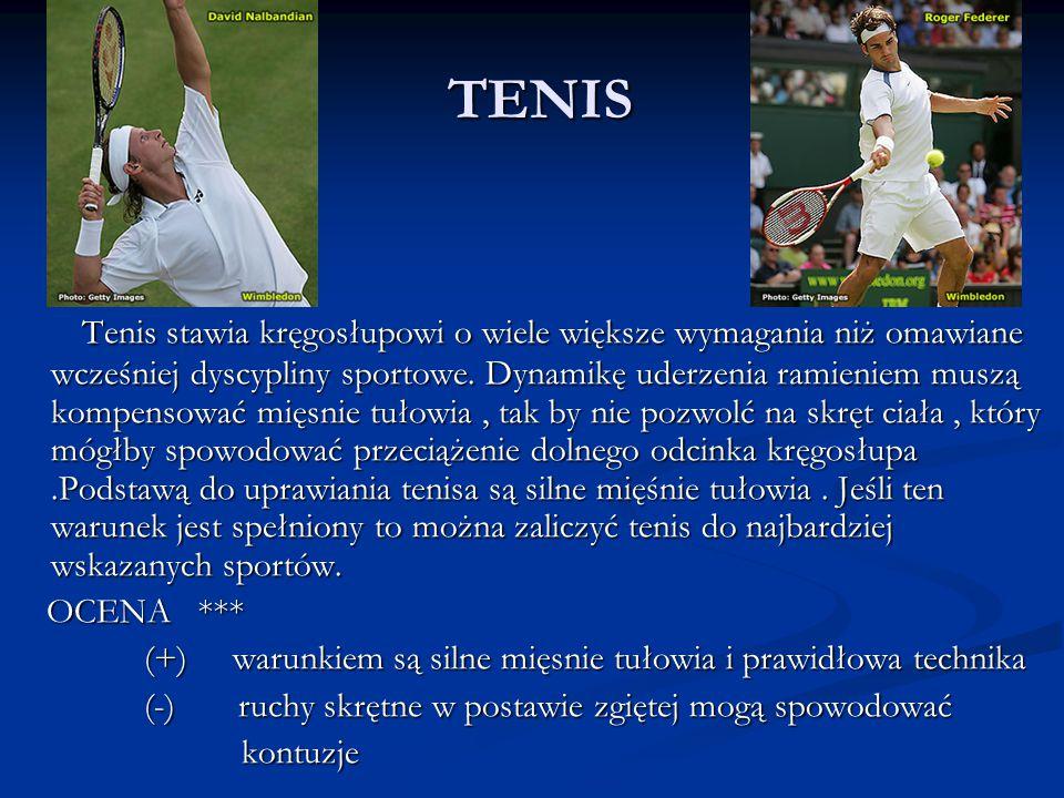 TENIS Tenis stawia kręgosłupowi o wiele większe wymagania niż omawiane wcześniej dyscypliny sportowe. Dynamikę uderzenia ramieniem muszą kompensować m