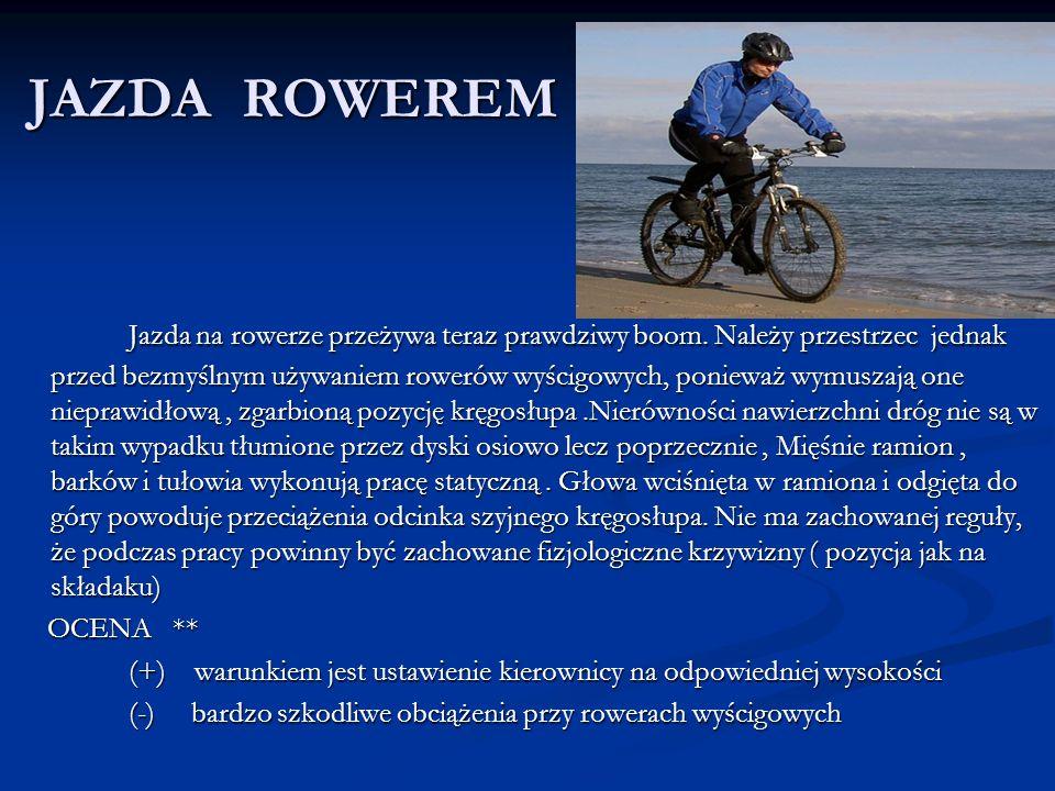 JAZDA ROWEREM Jazda na rowerze przeżywa teraz prawdziwy boom. Należy przestrzec jednak przed bezmyślnym używaniem rowerów wyścigowych, ponieważ wymusz