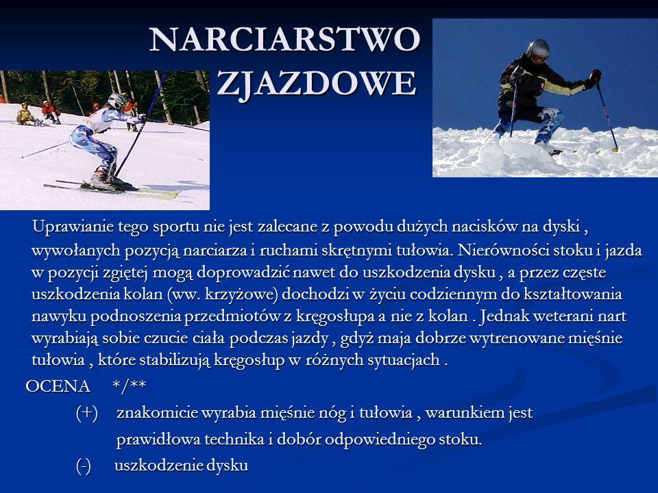 NARCIARSTWO ZJAZDOWE Uprawianie tego sportu nie jest zalecane z powodu dużych nacisków na dyski, wywołanych pozycją narciarza i ruchami skrętnymi tuło