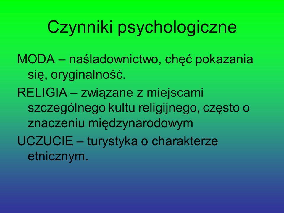 Czynniki psychologiczne MODA – naśladownictwo, chęć pokazania się, oryginalność.