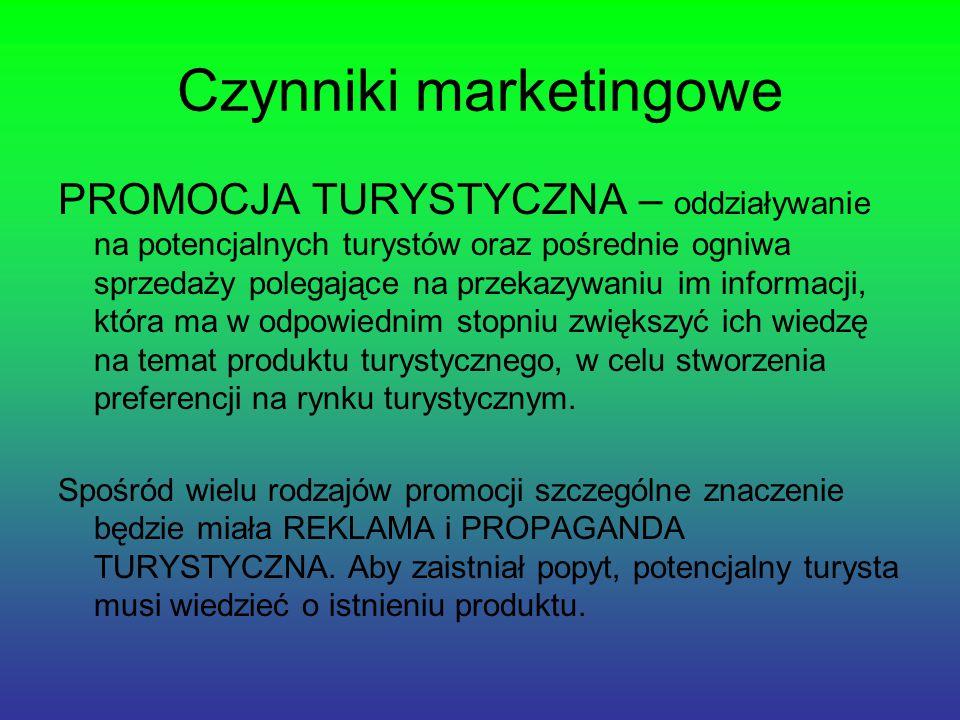 Czynniki marketingowe PROMOCJA TURYSTYCZNA – oddziaływanie na potencjalnych turystów oraz pośrednie ogniwa sprzedaży polegające na przekazywaniu im informacji, która ma w odpowiednim stopniu zwiększyć ich wiedzę na temat produktu turystycznego, w celu stworzenia preferencji na rynku turystycznym.