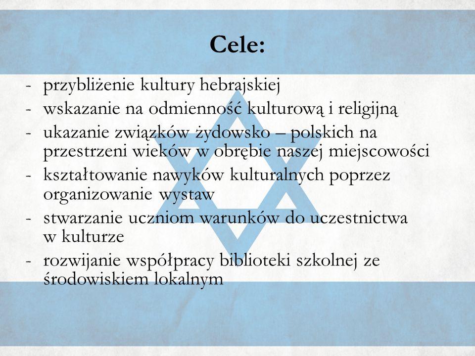 Cele: -przybliżenie kultury hebrajskiej -wskazanie na odmienność kulturową i religijną - ukazanie związków żydowsko – polskich na przestrzeni wieków w