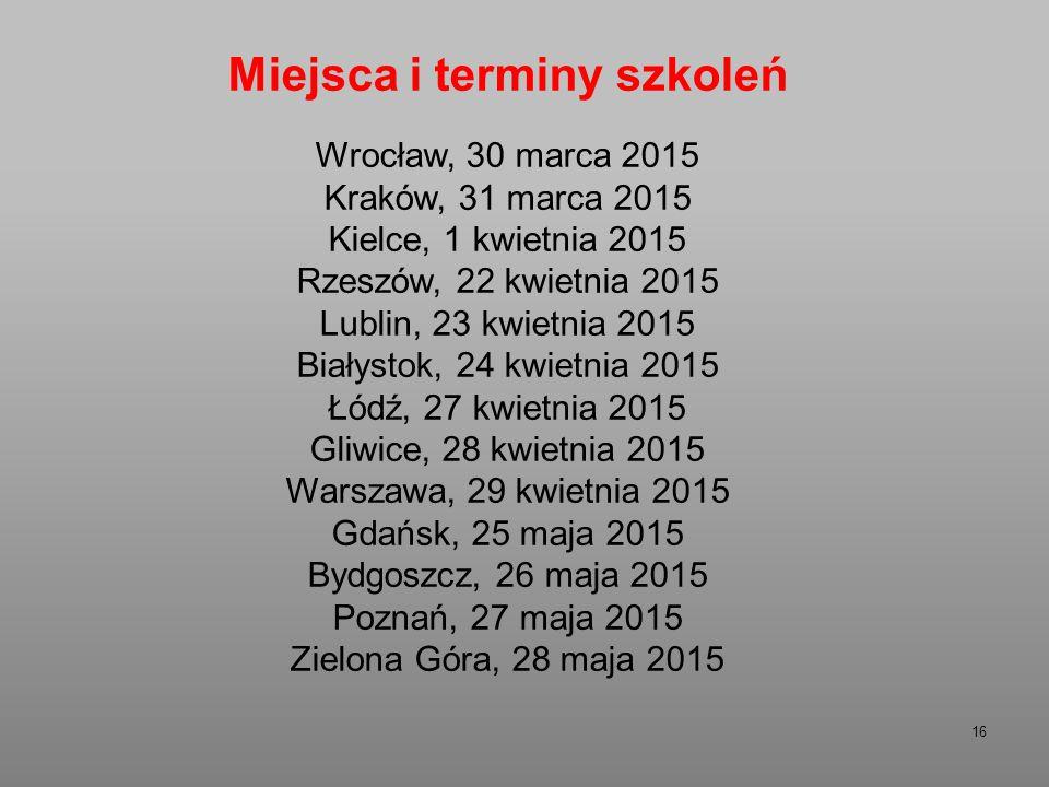 16 Miejsca i terminy szkoleń Wrocław, 30 marca 2015 Kraków, 31 marca 2015 Kielce, 1 kwietnia 2015 Rzeszów, 22 kwietnia 2015 Lublin, 23 kwietnia 2015 Białystok, 24 kwietnia 2015 Łódź, 27 kwietnia 2015 Gliwice, 28 kwietnia 2015 Warszawa, 29 kwietnia 2015 Gdańsk, 25 maja 2015 Bydgoszcz, 26 maja 2015 Poznań, 27 maja 2015 Zielona Góra, 28 maja 2015