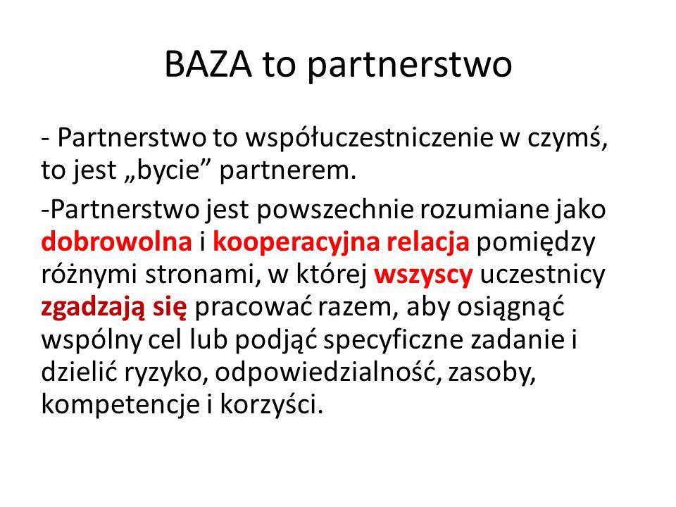 """BAZA to partnerstwo - Partnerstwo to współuczestniczenie w czymś, to jest """"bycie"""" partnerem. -Partnerstwo jest powszechnie rozumiane jako dobrowolna i"""