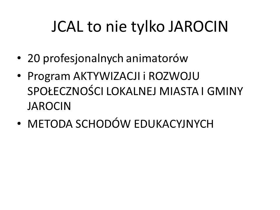 JCAL to nie tylko JAROCIN 20 profesjonalnych animatorów Program AKTYWIZACJI i ROZWOJU SPOŁECZNOŚCI LOKALNEJ MIASTA I GMINY JAROCIN METODA SCHODÓW EDUK