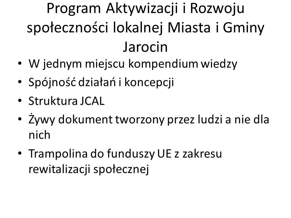Program Aktywizacji i Rozwoju społeczności lokalnej Miasta i Gminy Jarocin W jednym miejscu kompendium wiedzy Spójność działań i koncepcji Struktura JCAL Żywy dokument tworzony przez ludzi a nie dla nich Trampolina do funduszy UE z zakresu rewitalizacji społecznej